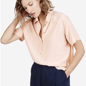 Everlane Silk Short Sleeve Button Down Blouse
